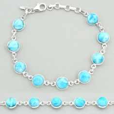 24.19cts natural blue larimar 925 sterling silver tennis bracelet jewelry t19719