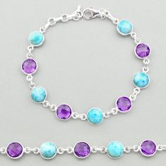 23.72cts natural blue larimar amethyst 925 silver tennis bracelet t19442