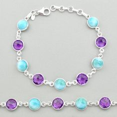 23.21cts natural blue larimar amethyst 925 silver tennis bracelet t19443
