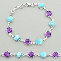 24.30cts natural blue larimar amethyst 925 silver tennis bracelet t19449
