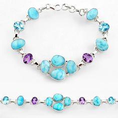 43.84cts natural blue larimar amethyst 925 sterling silver bracelet r44751