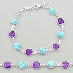 23.13cts natural blue larimar amethyst sterling silver tennis bracelet t19446