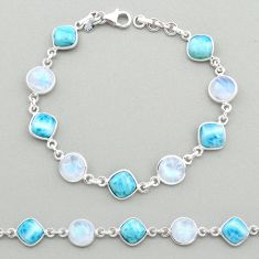 26.01cts natural blue larimar moonstone 925 silver tennis bracelet t19451