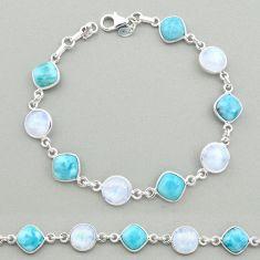 31.53cts natural blue larimar moonstone 925 silver tennis bracelet t19453