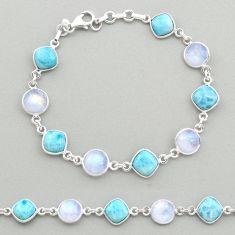 28.08cts natural blue larimar moonstone 925 silver tennis bracelet t19454