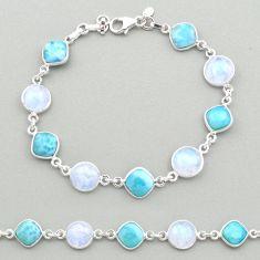 28.73cts natural blue larimar moonstone 925 silver tennis bracelet t19457