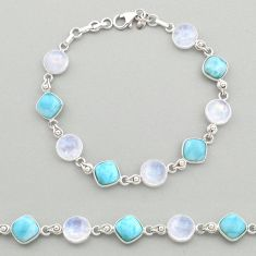 27.64cts natural blue larimar moonstone 925 silver tennis bracelet t19460