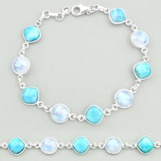 26.14cts natural blue larimar moonstone 925 silver tennis bracelet t19705