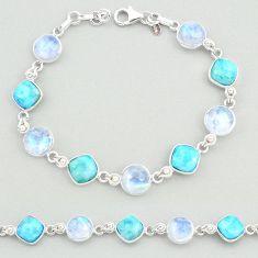 29.11cts natural blue larimar moonstone 925 silver tennis bracelet t19707