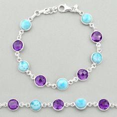 24.33cts natural blue larimar purple amethyst 925 silver tennis bracelet t19441