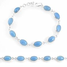 19.50cts natural blue owyhee opal 925 sterling silver tennis bracelet r74671