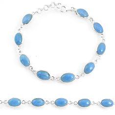 19.48cts natural blue owyhee opal 925 sterling silver tennis bracelet r74672
