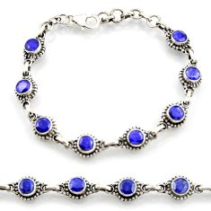 7.11cts natural blue sapphire 925 sterling silver tennis bracelet d45877
