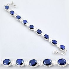 36.52cts natural blue sapphire 925 sterling silver tennis bracelet r56094