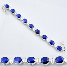 37.86cts natural blue sapphire 925 sterling silver tennis bracelet r56097