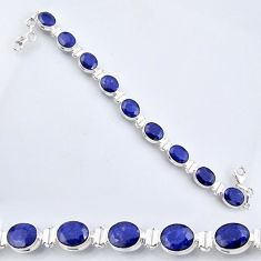 37.43cts natural blue sapphire 925 sterling silver tennis bracelet r56098