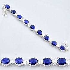 37.43cts natural blue sapphire 925 sterling silver tennis bracelet r56099