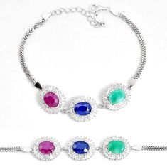 13.86cts natural blue sapphire emerald ruby 925 sterling silver bracelet c19636