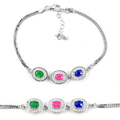 Natural blue sapphire emerald ruby 925 sterling silver tennis bracelet c19644