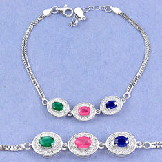 Natural blue sapphire emerald ruby 925 sterling silver tennis bracelet c19647