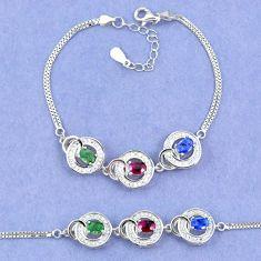 Natural blue sapphire emerald ruby 925 sterling silver tennis bracelet c19648