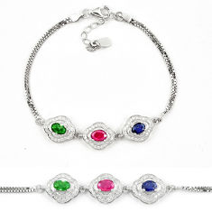 Natural blue sapphire emerald ruby 925 sterling silver tennis bracelet c19650