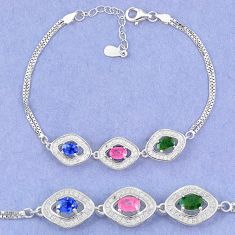 Natural blue sapphire emerald ruby 925 sterling silver tennis bracelet c19651