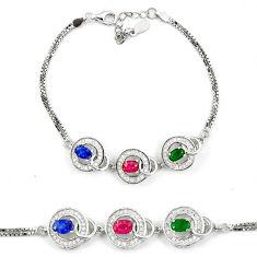 Natural blue sapphire emerald ruby 925 sterling silver tennis bracelet c19655