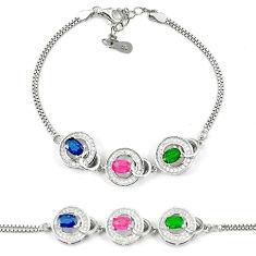 Natural blue sapphire emerald ruby 925 sterling silver tennis bracelet c19658