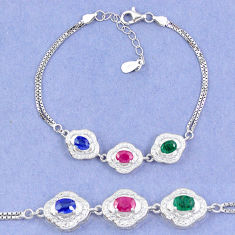 Natural blue sapphire emerald ruby 925 sterling silver tennis bracelet c19659