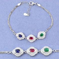Natural blue sapphire emerald ruby 925 sterling silver tennis bracelet c19722