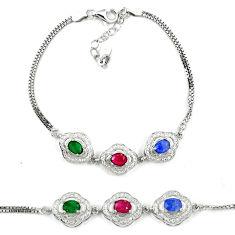 Natural blue sapphire emerald ruby 925 sterling silver tennis bracelet c19723