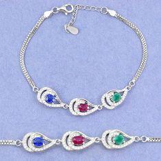 Natural blue sapphire emerald ruby 925 sterling silver tennis bracelet c19725