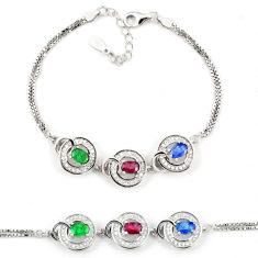 Natural blue sapphire emerald ruby 925 sterling silver tennis bracelet c19727