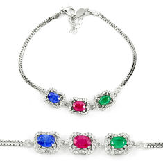 Natural blue sapphire emerald ruby 925 sterling silver tennis bracelet c19728