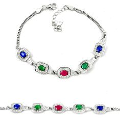 Natural blue sapphire emerald ruby 925 sterling silver tennis bracelet c19733