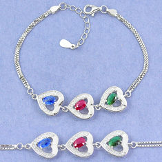 Natural blue sapphire emerald ruby 925 sterling silver tennis bracelet c19734