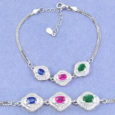 Natural blue sapphire emerald ruby 925 sterling silver tennis bracelet c19761