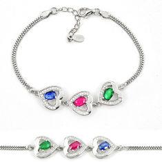 Natural blue sapphire emerald ruby 925 sterling silver tennis bracelet c19768
