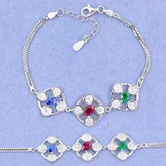 Natural blue sapphire emerald ruby 925 sterling silver tennis bracelet c19775