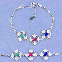 Natural blue sapphire emerald ruby 925 sterling silver tennis bracelet c19778