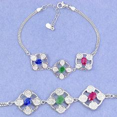 Natural blue sapphire emerald ruby 925 sterling silver tennis bracelet c19779