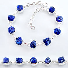 34.21cts natural blue sapphire raw 925 sterling silver tennis bracelet t7781