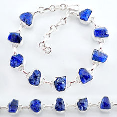 34.89cts natural blue sapphire raw 925 sterling silver tennis bracelet t7782