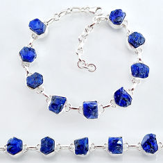 34.91cts natural blue sapphire raw 925 sterling silver tennis bracelet t7783