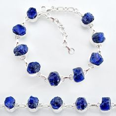 35.38cts natural blue sapphire raw 925 sterling silver tennis bracelet t7785