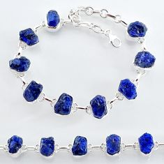 35.83cts natural blue sapphire raw 925 sterling silver tennis bracelet t7786