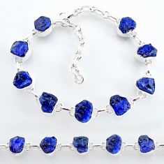 32.51cts natural blue sapphire raw 925 sterling silver tennis bracelet t7787