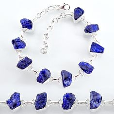 34.58cts natural blue sapphire raw 925 sterling silver tennis bracelet t7789