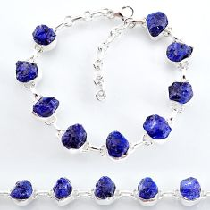 34.89cts natural blue sapphire raw 925 sterling silver tennis bracelet t7791